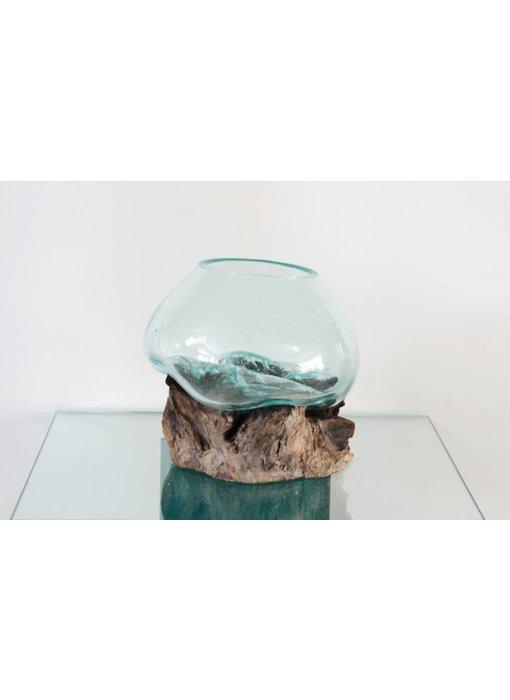 Schale auf Holz, Glas auf Stumpf Holz  - G