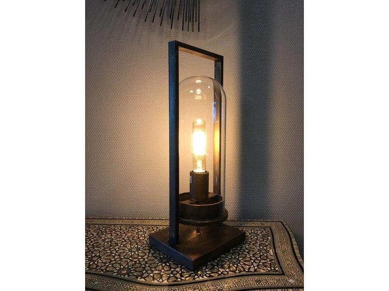 Dutch-LL Industriële lantaarnlamp antiek brons met glazen stolp