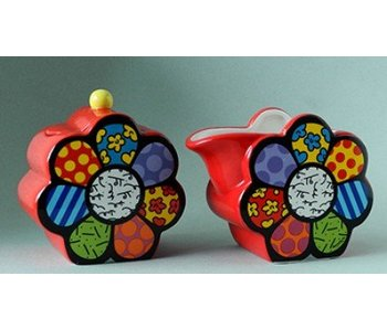 Britto Melkkan en suikerpot set Flower