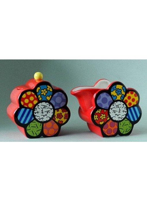 Britto Melkkan en suikerpot set Flower