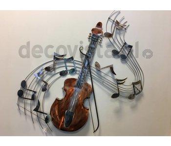 Wanddecoratie zingende viool met muzieknoten