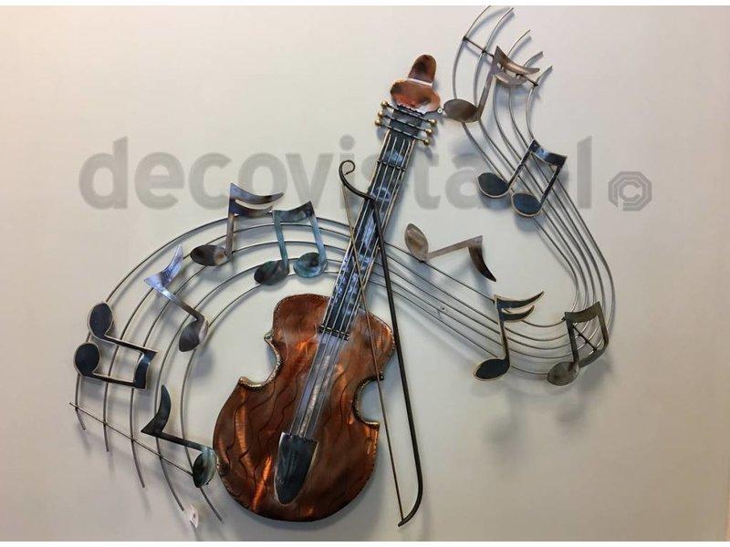 Wanddecoratie viool met muieknoten