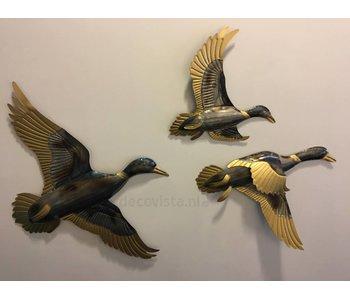 Wanddecoratie trio eenden