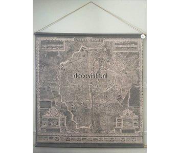 Wandtuch  auf Holzstäben Stadtplan  Paris