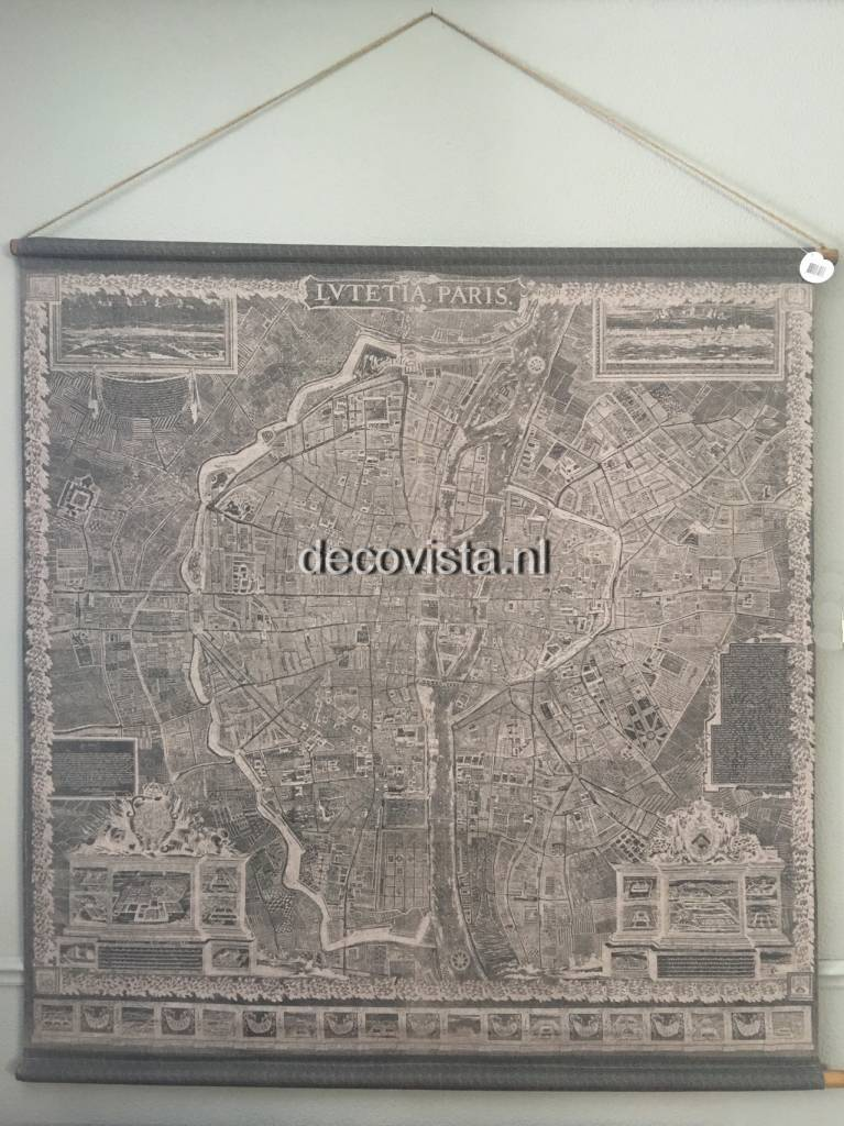 Wall Cloth Museum Map Old Paris Decovista Colorful Art Toms