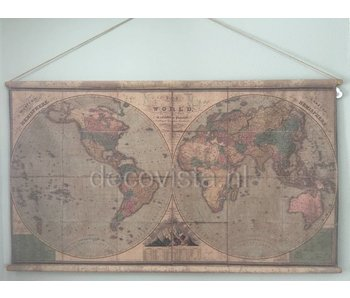 Paño de pared sobre varillas de madera - Hemispheres Earth