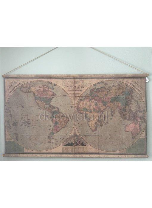 Wandtuch auf Holzstäben - Hemisphären Erde