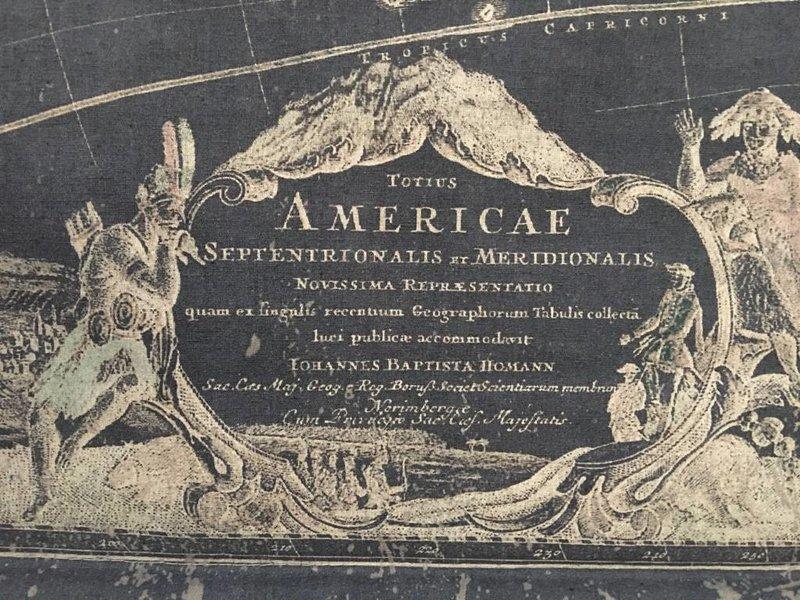 Oude museumkaart van Amerika op wanddoek