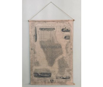 Wall cloth on wooden rods -  city map  New York