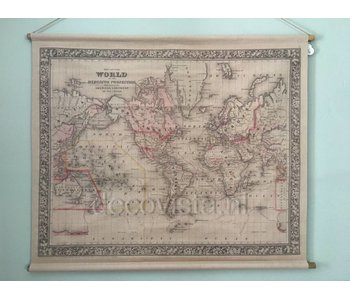 Wallcloth on wooden rods - World map