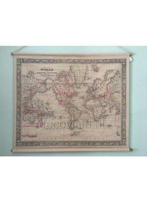 Wanddoek op roeden - Wereldkaart