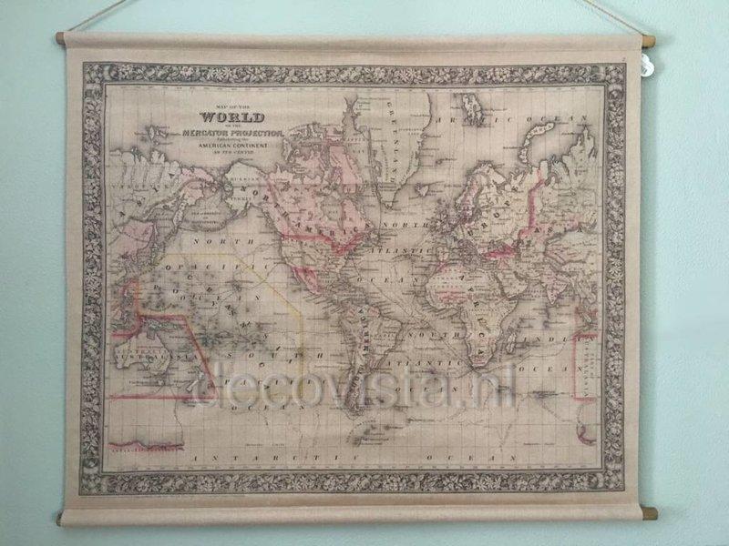 Spiksplinternieuw Wanddoek VIntage Mercator Projectie - wereldkaart - DecoVista KD-01