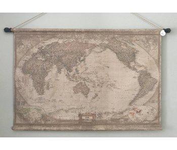 Wandtuch auf Holzstäben -  Globe Die Welt