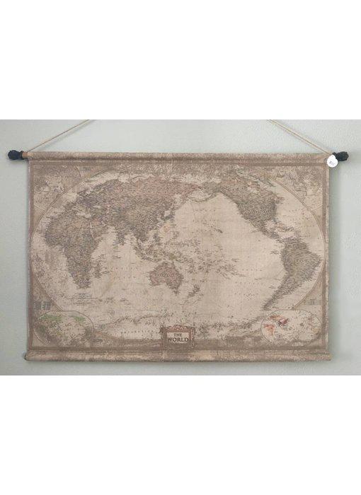Wanddoek op houten roeden - Globe  Wereld