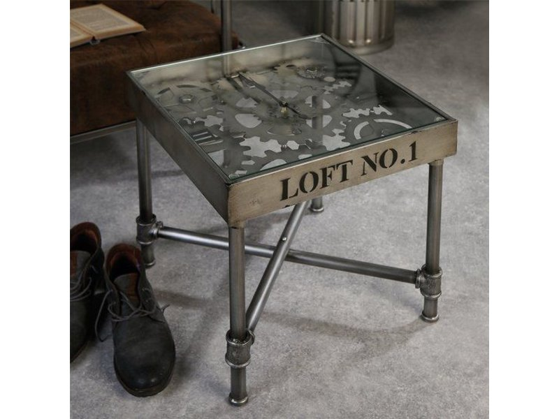 Side table with clock, industrial
