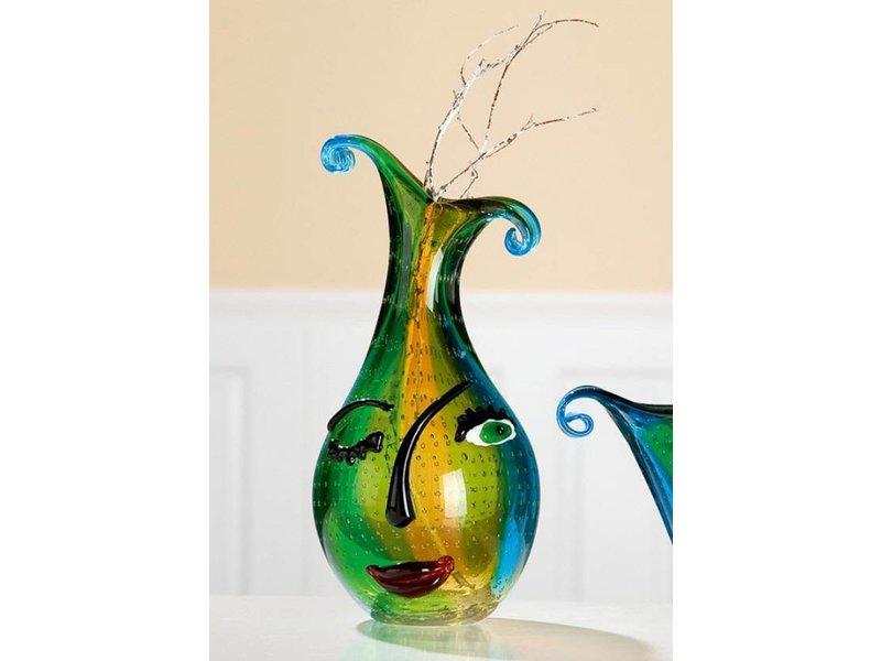 Eldig Brede designvaas van glas Twinkle Face