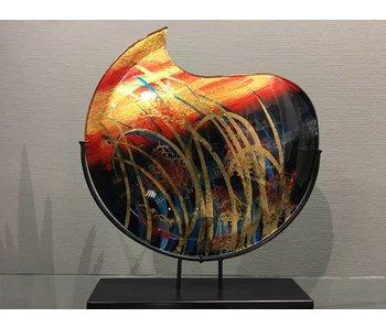 Eldig Glasvase mit gebogene Kante, Sunrise