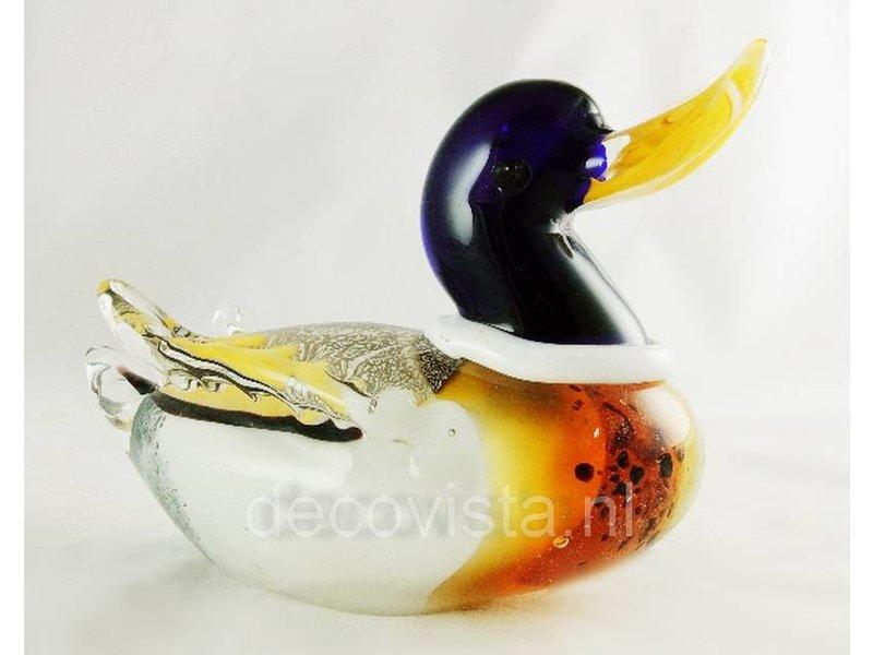 Glass sculpture Duck, statuette of glass, artistic art work of glass