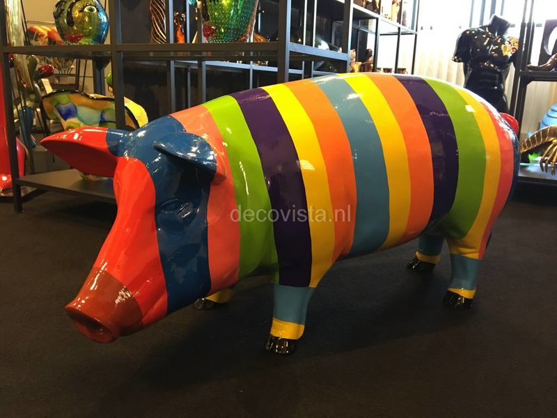 Large coloured pig-statue striped