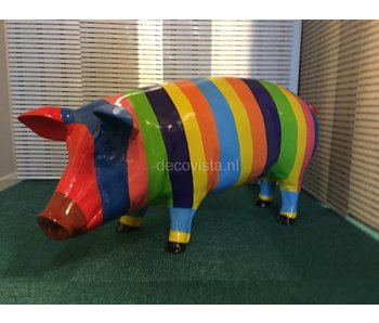 Large coloured pig - striped