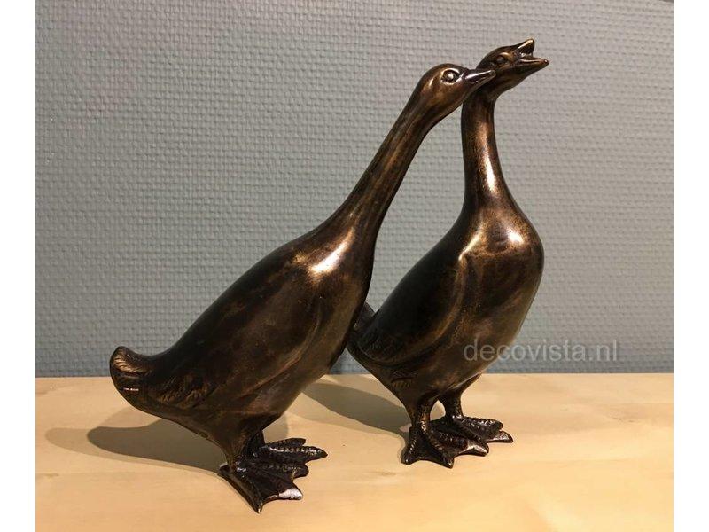 bronze pair of geese