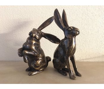 Pair of hares, bronze