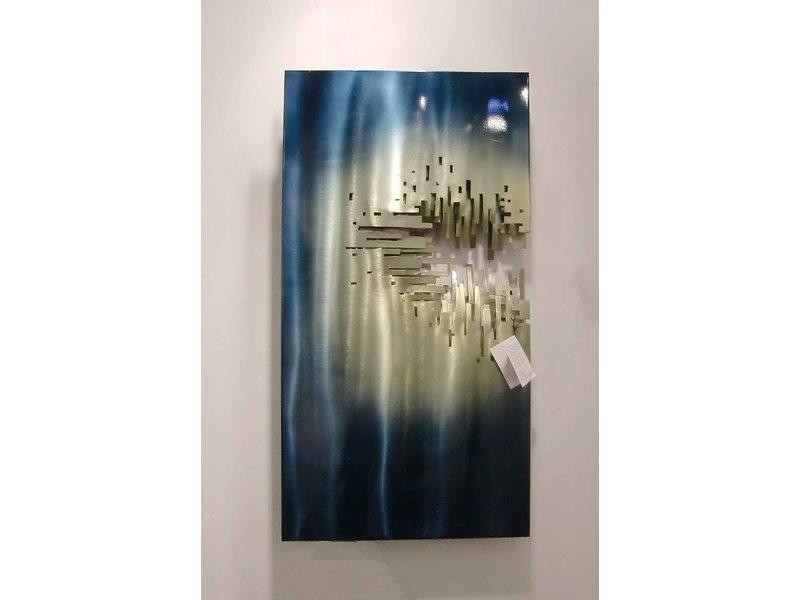 """C. Jeré - Artisan House Staalblauw met goud wandobject van 3 lagen staal  """"From The Depths"""""""