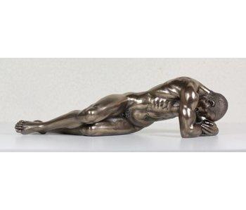 BodyTalk Bronze patinierte Skulptur liegender Athlet - L