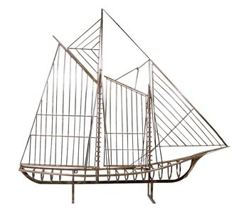 C. Jeré Sculpture Sailboat Skeleton Schooner Boat The Mariner