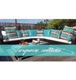 Esperanza Boho Decorative cushion made of turquoise furniture fabric Aztec - 45 x 45 cm