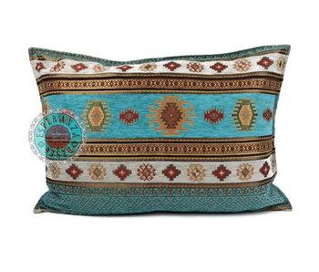 BoHo Bohemian sierkussenhoes Aztec  Turquoise- 50 x 70 cm