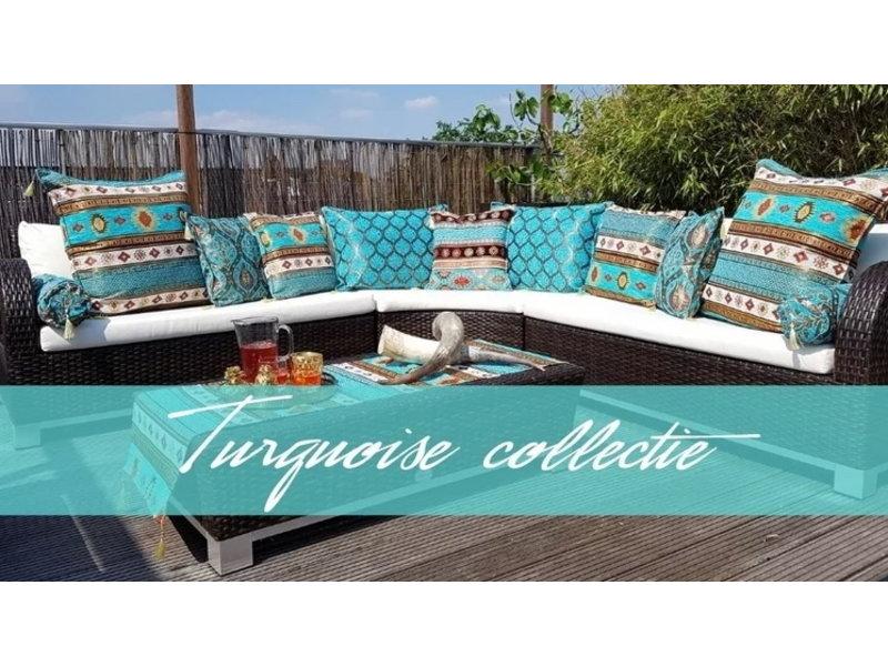 Esperanza Boho Cojín decorativo de tela para muebles de color turquesa  Aztec