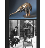 Replica museum figurine elephant in bronze optic