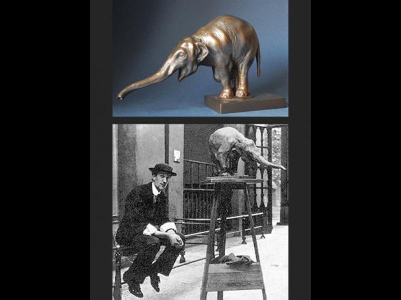 Mouseion Réplica de estatuilla museo elefante en bronce óptico.