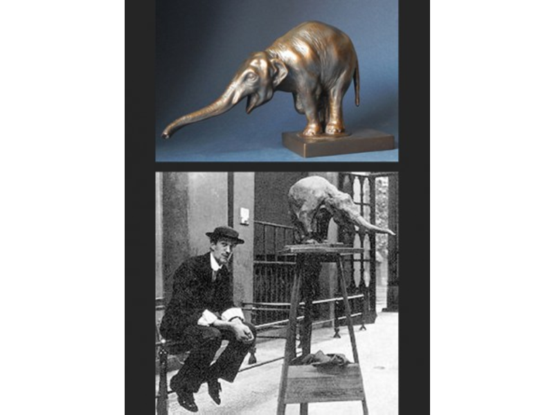 Mouseion Replik Museumsfigur Elefant in Bronzeoptik