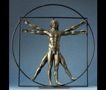 Mouseion Der Mann, der Vitruvië  - bronzefarben
