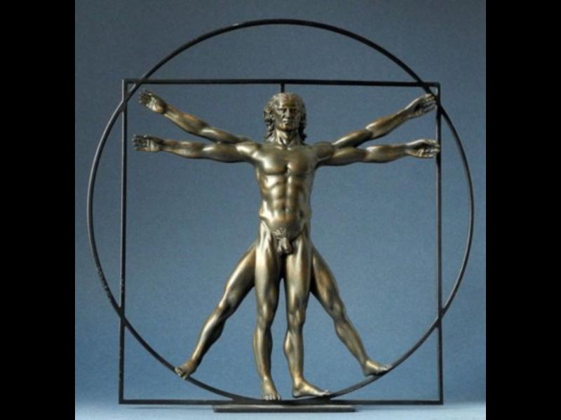 Mouseion El hombre de Vitruvio - blanco con marco negro