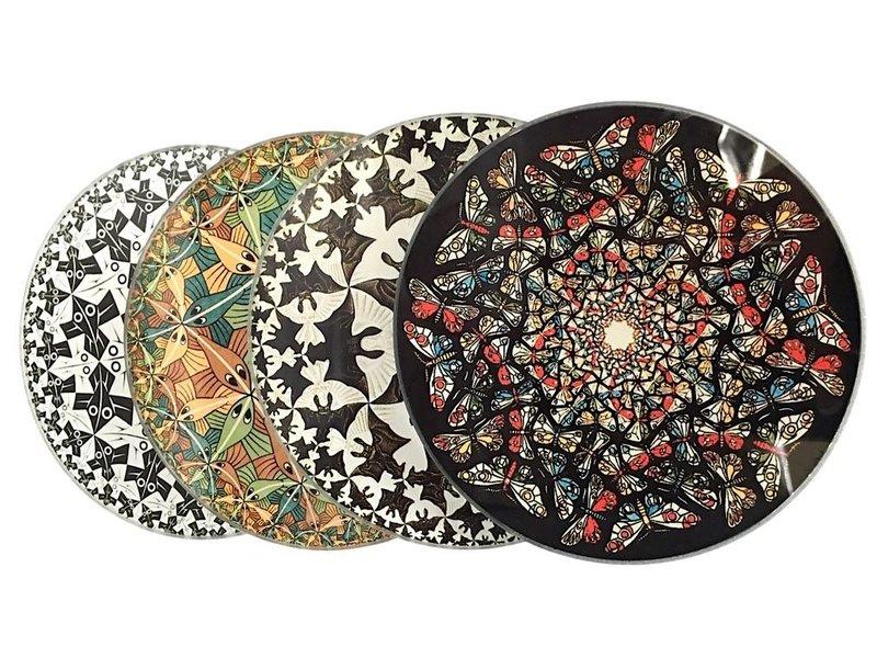 Mouseion Set mit vier Untersetzern im Halter von M.C. Escher
