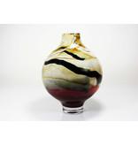 Grote handgemaakte vaas  Sahara, rood, room en zwart