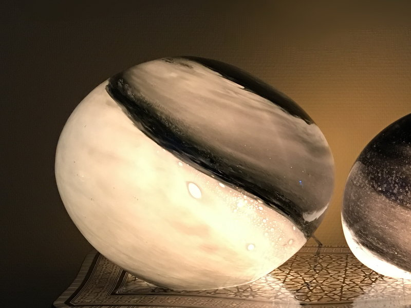 Rasteli Tafellamp glazen zwerfkei Black Magic -  L