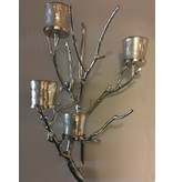 Dutch Design Label  Wall branch candlestick with four tea light holders, silver