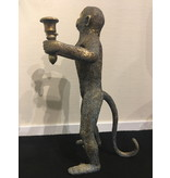 Standing monkey in antique look, monkey candlestick