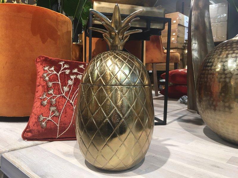 Colmore Aluminium ananas in vintage brons, opbergbox - L