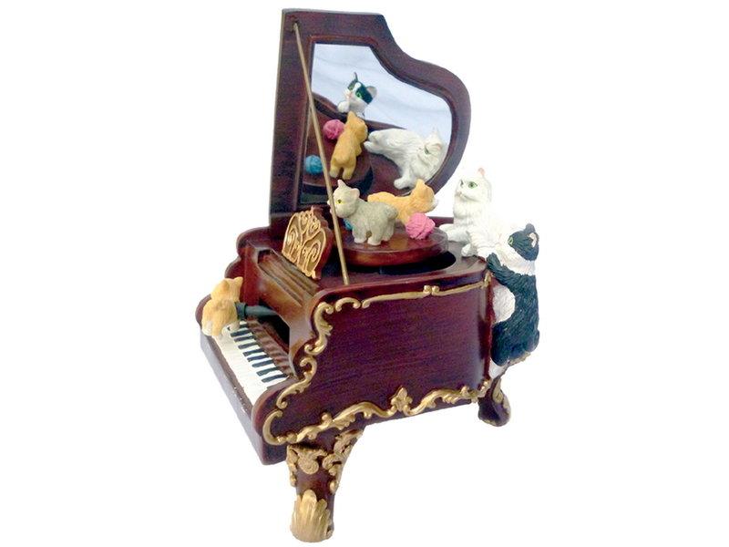 Musicboxworld Speeldoos vleugel piano met vijf katten