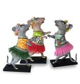 Toms Drag Dansmuis met  rode tutu, beeldje muis Lizzy