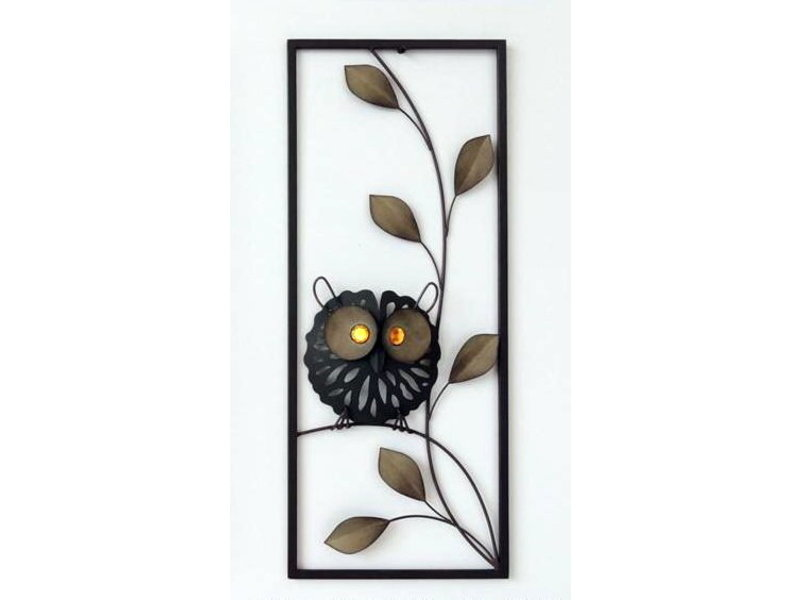 Frame-Art GaSp Wall object, metal Owl on leafy branch