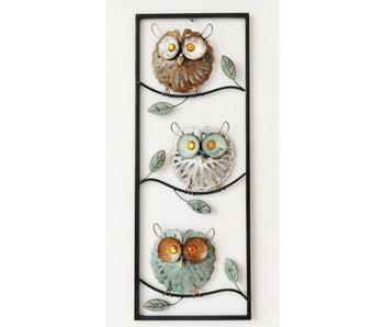 Frame-Art GaSp Wanddecoratie  Drie uilen in frame