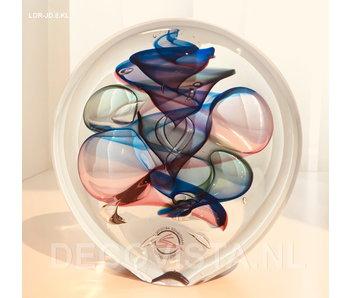 Ozzaro  Objeto de vidrio tricolor Disco - M -