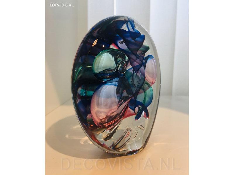 Ozzaro  Glass art object by Ozzaro, three-coloured Disc