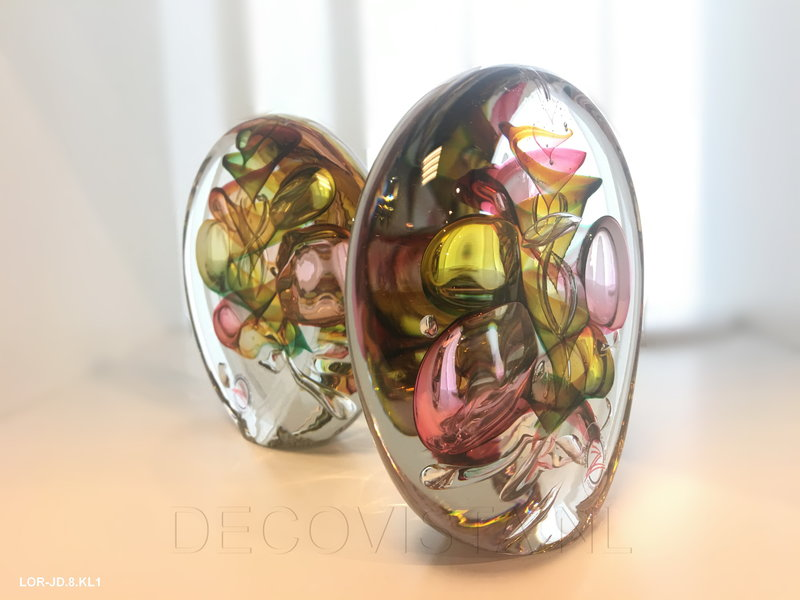 Ozzaro  Glass art object by Ozzaro, three-coloured Disc